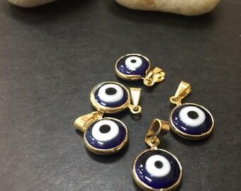 5 pcs Goldfilled 18k 1.5cm evil eye charm AP5445 1.5