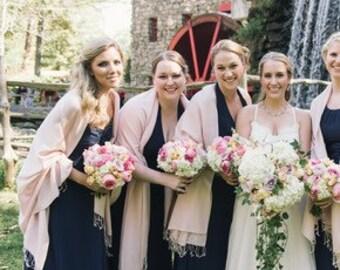 Pashmina scarf blush - blush ñbridesmaid's gift - blush bridesmaid scarf - blush wedding shawl - light pink party favors - pink wedding shaw
