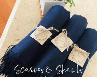 Pashmina scarf Navy - Navy Bridesmaid's Gift - Navy Bridesmaid Scarf - Navy Wedding Shawl - Navy Party Favors - Navy Wedding Shawl