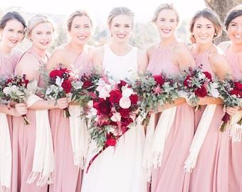 Pashmina Scarf Blush - Blush Bridesmaid's Gift  - Blush Wedding Shawl - Party Favors - Pink Wedding Shawl - Personalized Gifts - Event Gifts