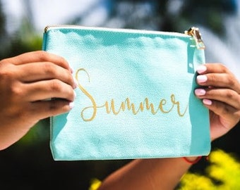 Script Cosmetic Bag - Personalized Cosmetic Bag - Bridesmaid Gift - Personalized MakeUp Bag- Personalized gift - Mom Gift - Teacher Gift