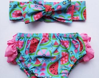 12-24M Baby Ruffled Bloomers, Baby Girl Bloomer, Ruffles, Watermelon Print, Blue, Light Pink