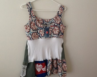 Upcycled Clothing Refashioned Country Cottage Chic Quirky Kitschy Romantic Shabby Style Repurposed Tank Top Tunic. Women's Size XS to Small.