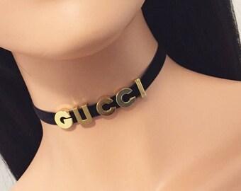 Gucci - Name Choker - Velvet Choker - Custom Choker - Personalized Choker Necklace - Gucci Choker - Gold Choker - Gold letters choker