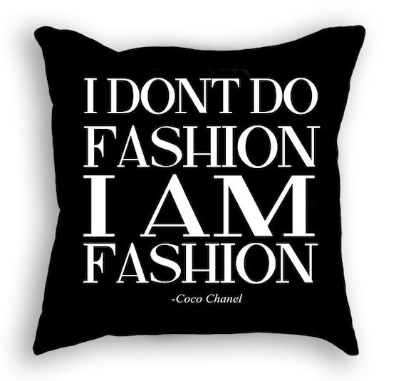 Fashion Pillow Coco Chanel Quote Interior Decorating Etsy