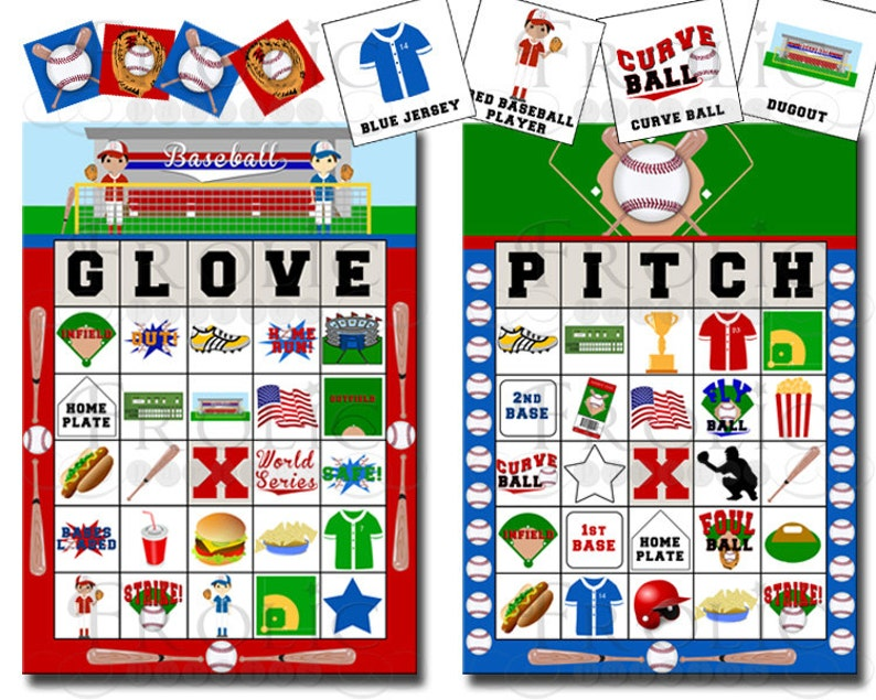Baseball Bingo 20 Printable Cards INSTANT DOWNLOAD image 0