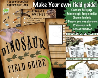 Dinosaur Field Guide party favor INSTANT DOWNLOAD