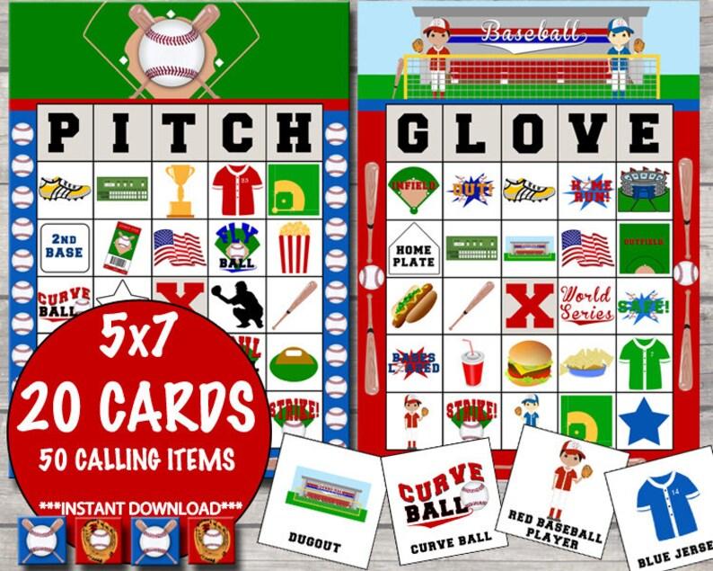 Baseball Bingo 20 Cards INSTANT DOWNLOAD image 1