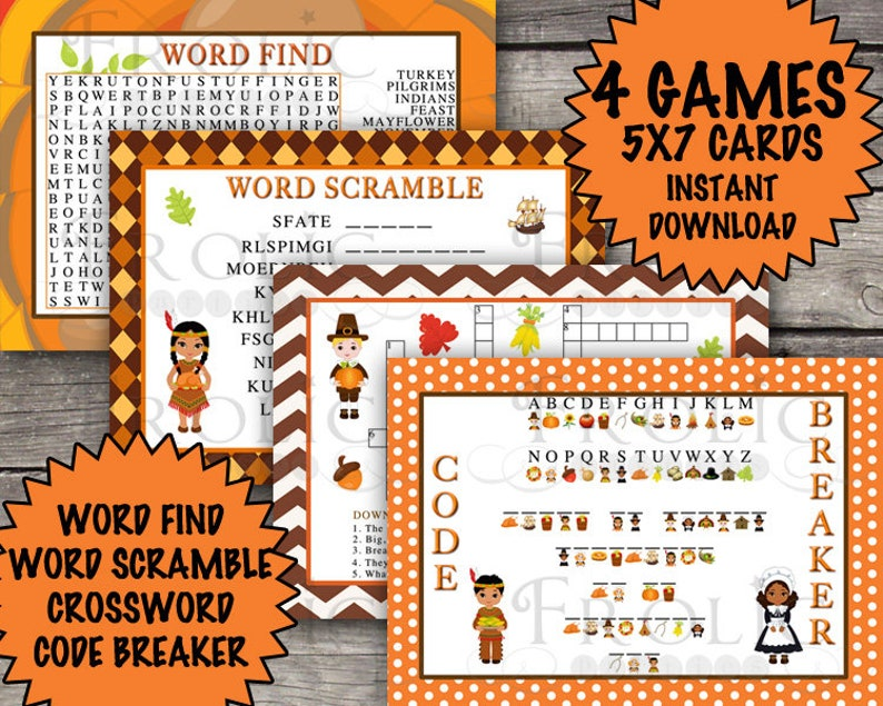 Thanksgiving word search thanksgiving crossword puzzle | Etsy