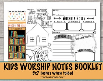 Worship notes for kids, Worship Activities for Kids, Worship Notes, Bible Coloring, Bible Bookmark INSTANT DOWNLOAD
