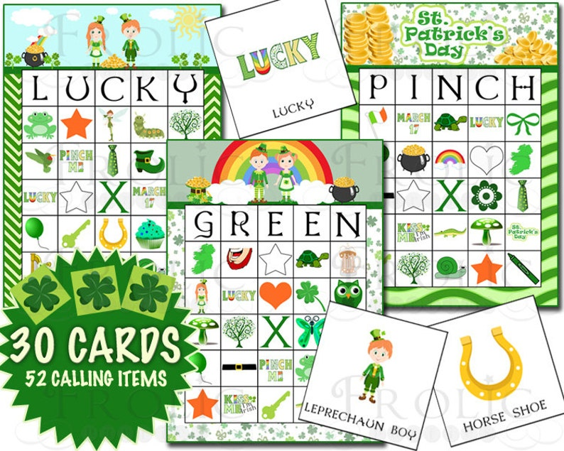 image relating to St Patrick's Day Bingo Printable identified as St. Patricks Working day Bingo 30 Playing cards Printable Immediate Down load