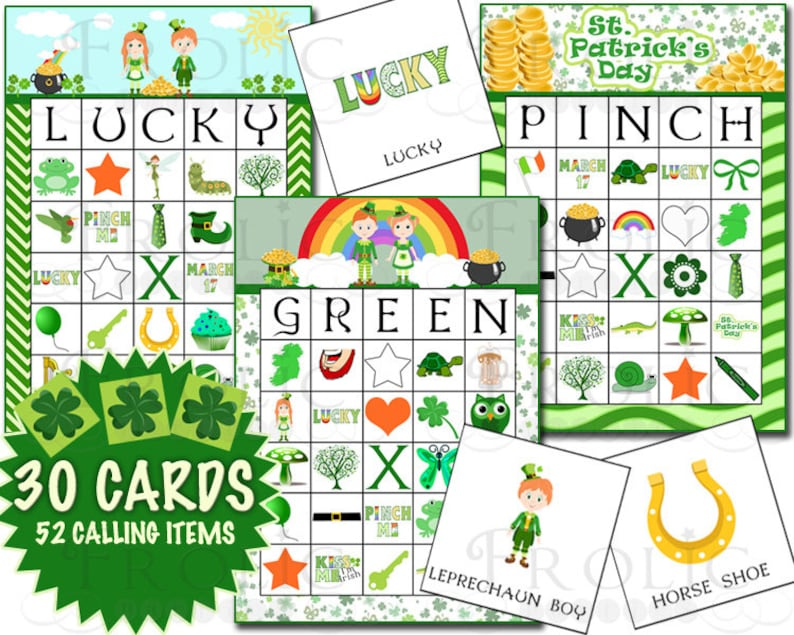 photograph about St Patrick's Day Bingo Printable titled St. Patricks Working day Bingo 30 Playing cards Printable Prompt Obtain