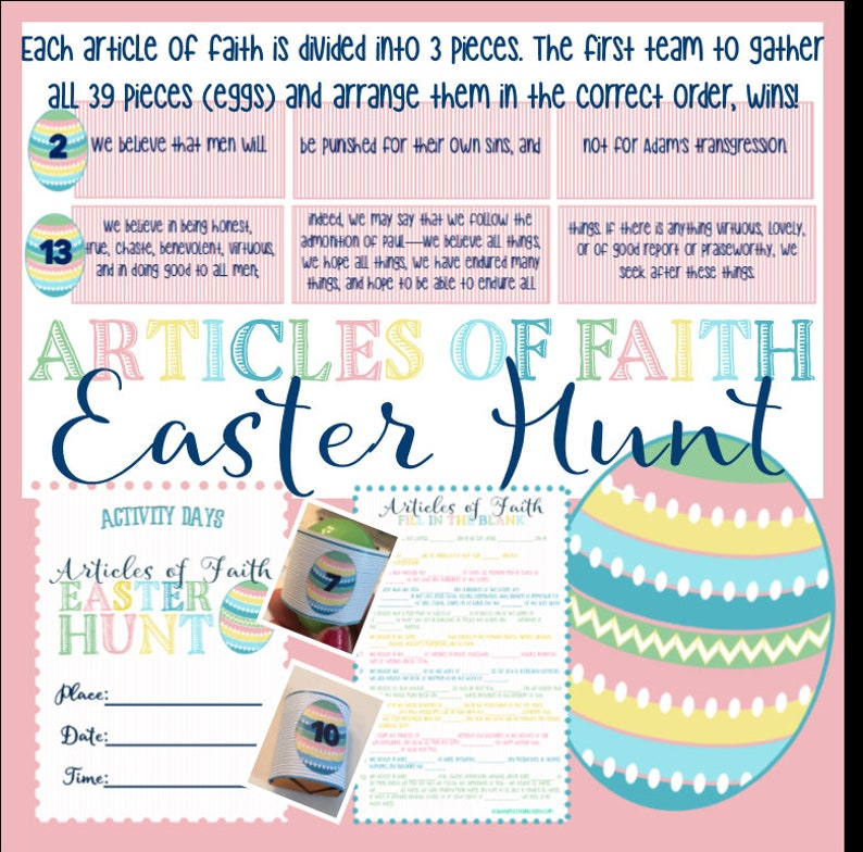 NEW* Articles of Faith Hunt - Family Home Evening, Activity Days,