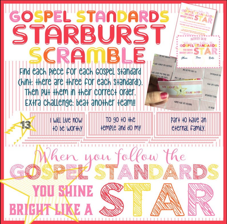 My Gospel Standards Starburst Scramble - Activity Days, Family Home  Evening, Primary, Faith in God Activity