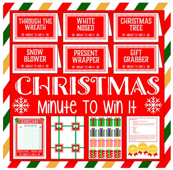 Minute To Win It Christmas.Christmas Minute To Win It Family Or Group Game Kid Friendly And Fun