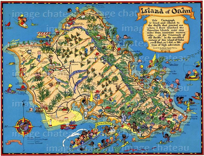 photograph regarding Printable Map of Oahu identify Oahu HAWAII Enjoyable Map Fresh GICLEE Artwork Print via Ruth Taylor White Honolulu Waikiki Pearl Harbor Diamond Intellect Tropical Holiday Pineapples