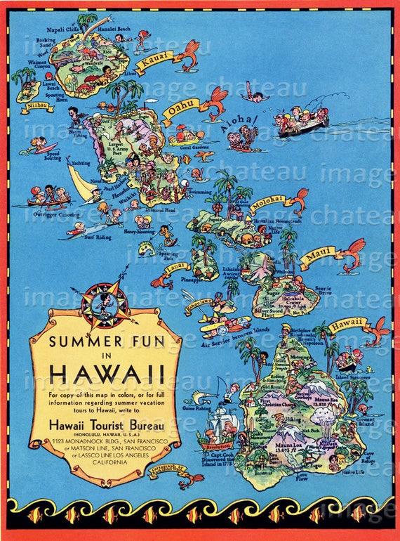 picture regarding Printable Map of Kauai named HAWAII Summer season Pleasurable Map Kauai Oahu Maui Fresh new GICLEE Artwork Print Browsing Fishing Boating via Ruth Taylor White Golf Vacationer Volcano Pearl Harbor