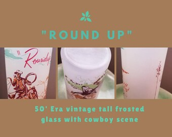 Vintage Western Cowboy Scene Drinking Glass