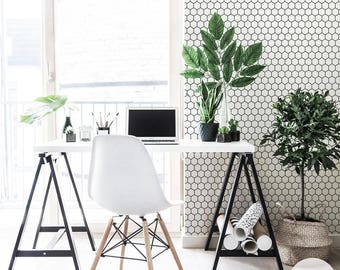 Honeycomb removable wallpaper, self adhesive or tradition material, hexagon pattern
