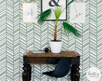 Herringbone wallpaper in Sage green colour, non woven or removable material options