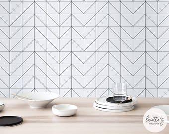 Black Geometric Wallpaper / Traditional or Self Adhesive Wallpaper