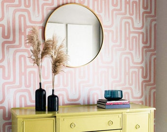 Pink Color Brush Stroke Labyrinth Pattern Wallpaper / Minimal design abstract pattern Traditional or Removable Wallpaper