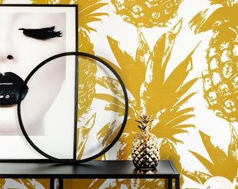 Tropical Removable Wallpaper Temporary And Traditional Faux Gold Pineapple Wall Mural