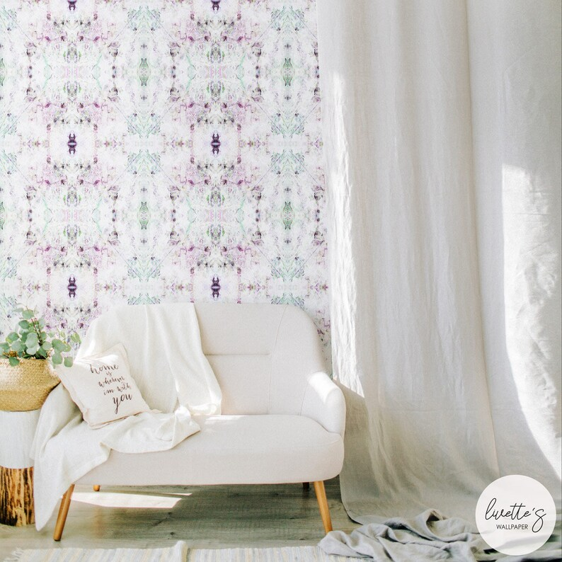 Marble Kaleidoscope Wallpaper, Bedroom Accent Wall, Peel and Stick or  Traditional Non Woven material