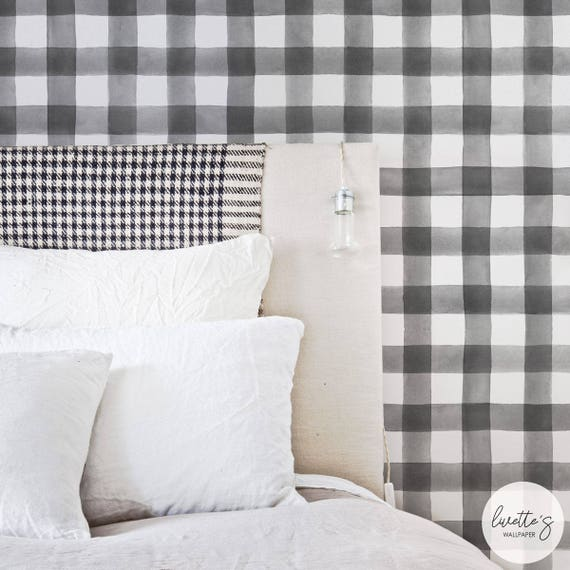 Watercolor Plaid Removable Wallpaper Gingham Pattern