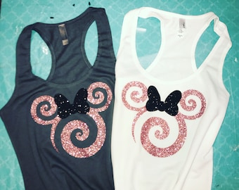3242eead0df5d Disney Tank top. Disney Family Shirts MIckey Rose Gold Sparkle Ears