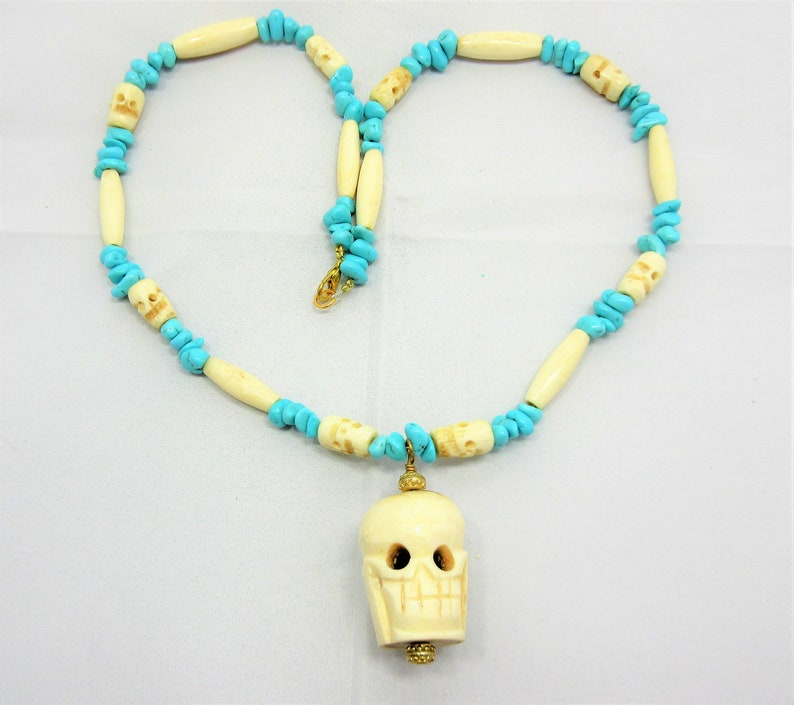 Carved Bone Skull Necklace Skull Necklace Bone Hairpipe Beads 22 Necklace #N5 Genuine Turquoise Halloween Day of the Dead Jewelry