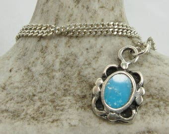 """Turquoise Necklace, Sterling Silver, Silver Chain, 16"""" Necklace, Turquoise Cabochon, Turquoise Jewelry, Silver Jewelry, Vintage Jewelry #35"""