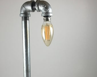 Industrial Pipe Lamp on Olive Wood