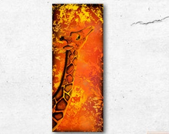 Orange Giraffe Acrylic Painting Poster Print by Kortney Beth