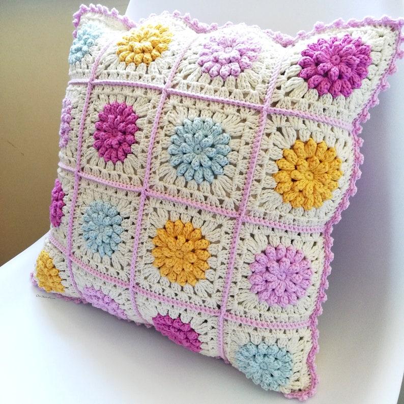 Dahlias in Bloom Cushion Pattern crochet cushion pattern image 0
