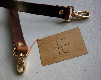 """33"""" Handmade Real Leather Camera Strap Antique Dark Brown with Light Gold Clasps"""