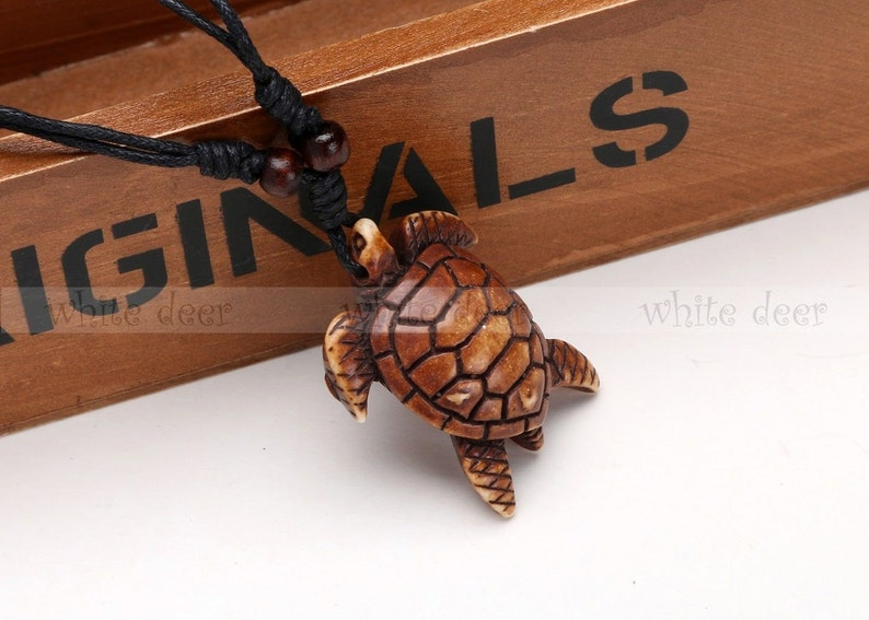 14. Wise Sea Turtle Resin Wood Pendant Necklace
