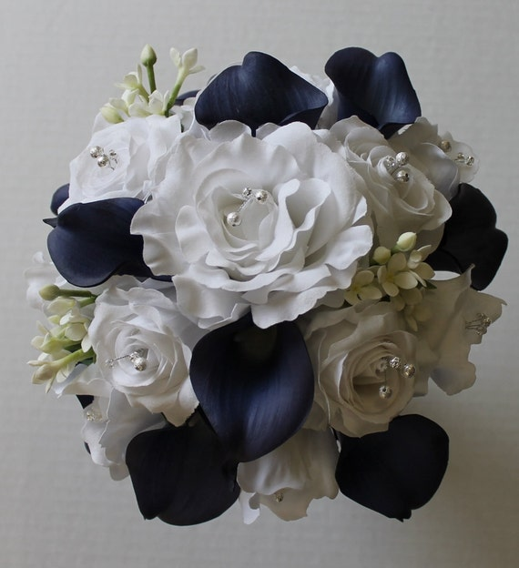 Navy blue wedding bouquet navy blue calla lily bouquet navy etsy image 0 mightylinksfo