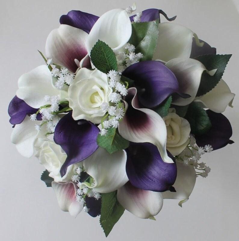 Purple Wedding Bouquet Purple Calla Lily Bouquet Purple Etsy