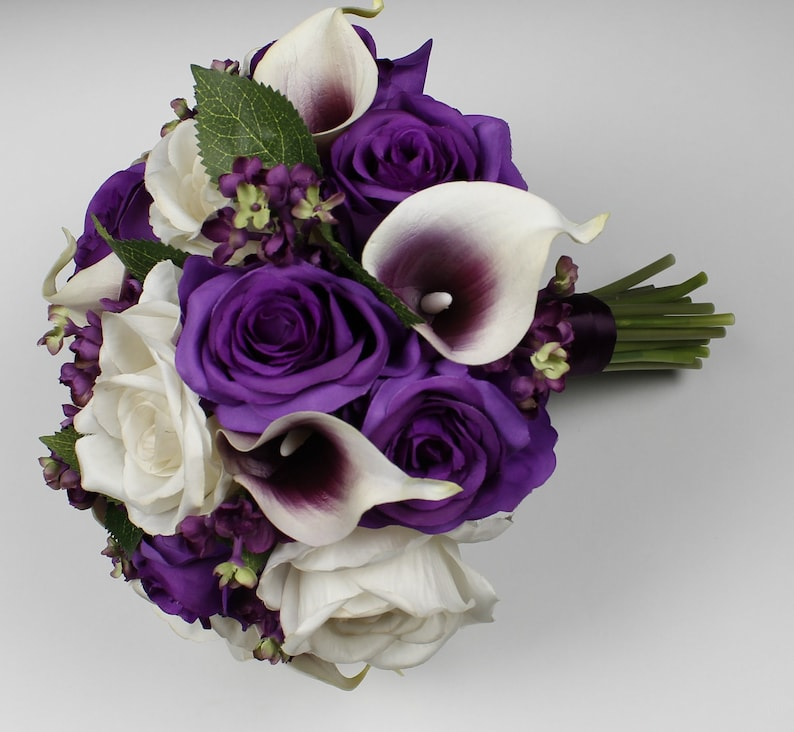 Purple And White Wedding Flower Bouquets: Purple Wedding Bouquet Purple Calla Lily Bouquet Purple