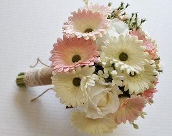 10 Piece Yellow & White Daisy Wedding Bouquet Set Daisy