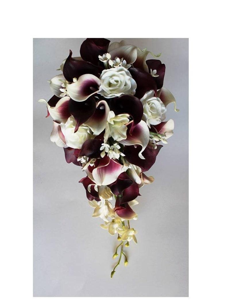 Cascade Wedding Calla Lily Bouquet Cramberry Bouquet Bridal Bouquet Real Touch Burgundy Calla Lily Bridal Bouquet Wedding  Bouquets