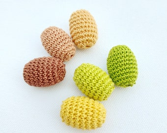 Autumn colored crochet Oval bead  1.18'' x 0.79'' natural wood Sphere Spacer Unfinished Lead-Free Wooden Beads for Jewelry Making 30mm*20mm