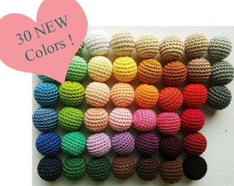 crochet round wooden beads 10pcs. Choose your size and colour MADE TO ORDER