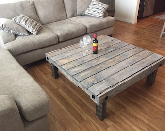 Rustic Reclaimed Pallet Wood Coffee Table, Hand Made, Custom, Furniture,  Family Room, Chic, Living Room,