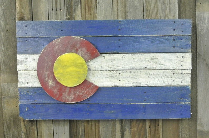 reclaimed wood pallet wood 3D Colorado Flag wall art distressed handmade, home decor wall hanging vintage