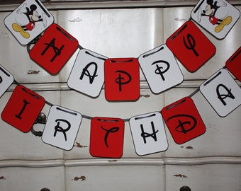 Mickey Mouse Themed Banner - Happy Birthday Banner - Customizeable