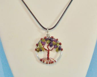 Tree of Life Peridot and Amethyst Crystal Pendant Necklace (small)