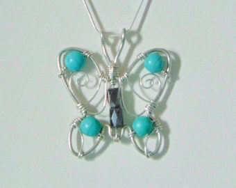 Turquoise & Hematite Butterfly Wire Gemstone Pendant Necklace