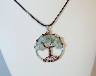 Aquamarine Tree of Life Pendant (md.)